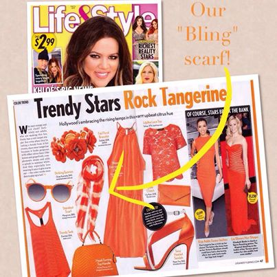 """Catch our Bling scarf, one of our favorites for Spring/Summer, in this week's issue of Life&Style Weekly magazine. They call it a """"Standout Scarf""""!!!"""