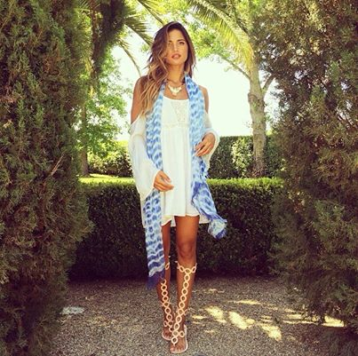 """Loving how SoCal fashion & travel blogger, Rocky Barnes, from www.rockybarnesblog.com completed her gorgeous look in Mangrove's most popular style """"Between the Lines"""" in Blue. It's the perfect scarf to complete her ensemble!"""