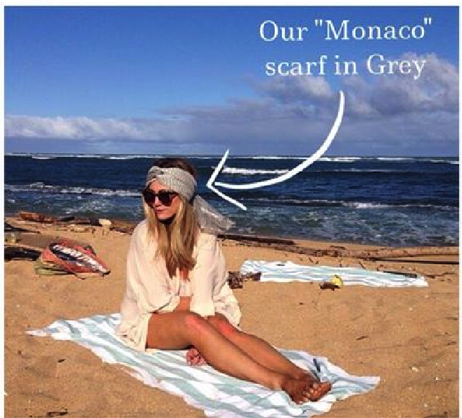 Check out LA fashion blogger Devon Rachel sunning in Hawaii with our Monaco scarf in Grey . A scarf is not just a scarf anymore - we LOVE this look!