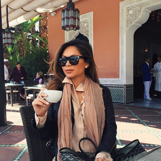 Marianna Hewitt epitomizes a cool, weekend vibe while in Marrakech. We think our Sky Lanterns Scarf in Desert Rose, beautifully completes her ensemble.